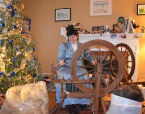 Alison spinning Victorian fashion