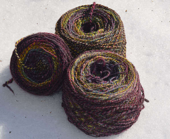 Skeins of The Loft colorway on cheviot